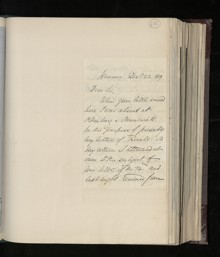Letter from the British Envoy to Hanover to Dr. Ernst Becker enclosing a letter from Senator Culemann regarding a Raphael drawing in the Kestner collection