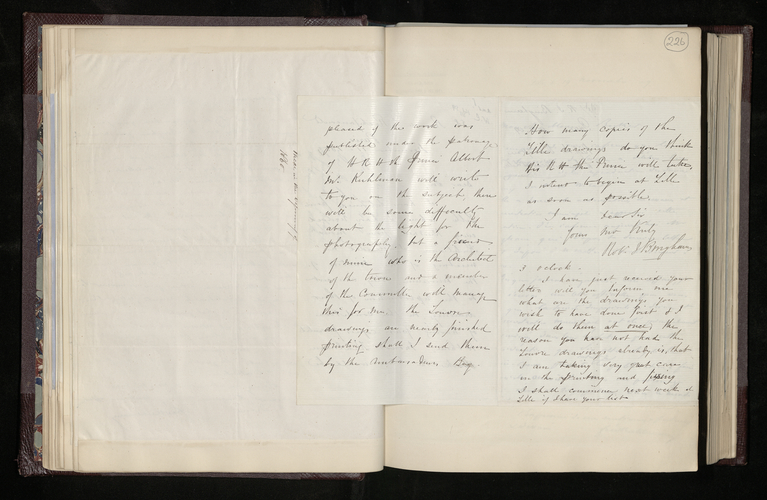 Letter from Robert Bingham to Dr. Ernst Becker reporting on his agreement with the authorities at the Musee Wicar and announcing that the prints of the drawings at the Louvre are nearly ready