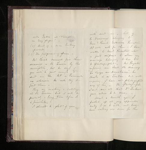 Letter from Robert Bingham to Charles Ruland answering his questions as to which Raphael drawings he has photographed in Paris and explaining his delay in photographing the drawings at Lille