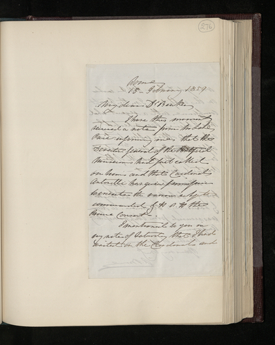 Letter from Colonel Bruce to Dr. Ernst Becker reporting that Lake Price has been authorized by Cardinal Antonelli to photograph the pictures in the Vatican museum as requested by the Prince Consort
