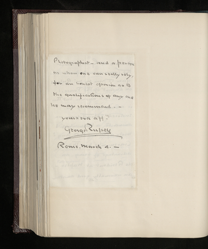 Part of a letter from George Russell [to his father] from Rome concerning efforts to find the photographer Grillet at Naples, enclosing a letter from Augustus Craven on the same subject