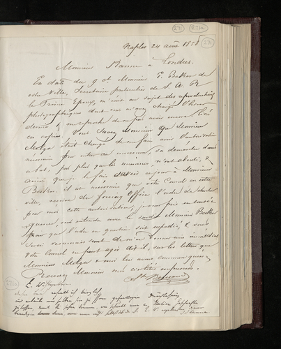 Letter from Alphonse Bernoud to Joseph Kanne concerning the photography that he has been commissioned to do in Naples