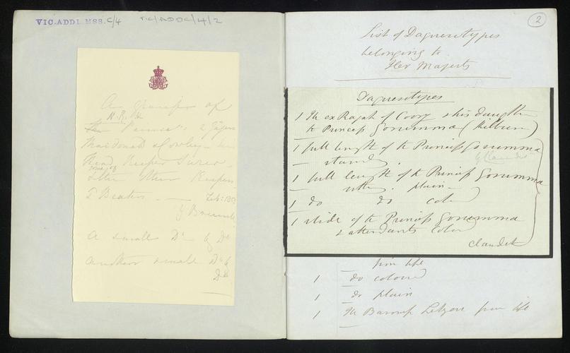Notebook and documents listing daguerreotypes belonging to Queen Victoria