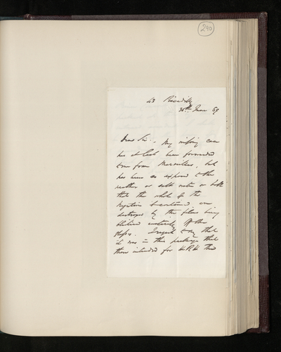 Letter from William Lake Price to Dr. Ernst Becker reporting that his negatives have been damaged at sea and cannot be presented to the Prince Consort for inspection
