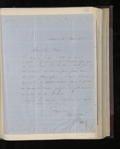 Letter from J. Bairr in Milan to Joseph Kanne asking him to contact Dr. Ernst Becker regarding photographic plates