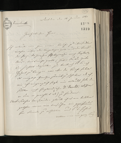 Letter from Ludwig Gruner to Charles Ruland regarding a photograph of Raphael's drawing of a Muse in the possession of Professor Raher