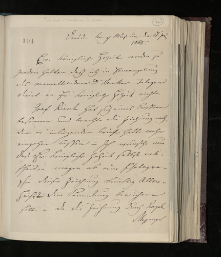 Letter from Ludwig Gruner to the Prince Consort reporting on Count Riesch's change of heart and asking whether the Prince now wishes the Riesch family's Raphael drawing to be photographed for his co