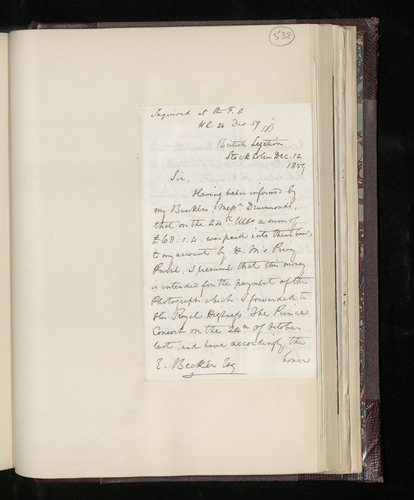 Letter from Hon. Edward Ersine, the British Charge d'Affaires in Stockholm, to Dr. Ernst Becker reporting that he has received payment for the photographer Hansen, and also a diamond ring, together w
