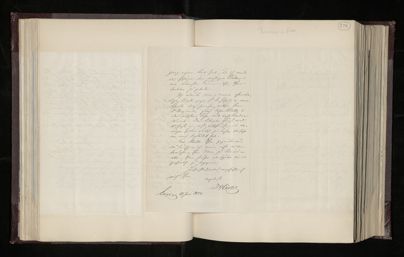 Letter from Dr. Hartel of Leipzig to Dr. Ernst Becker acknowledging receipt of photographs