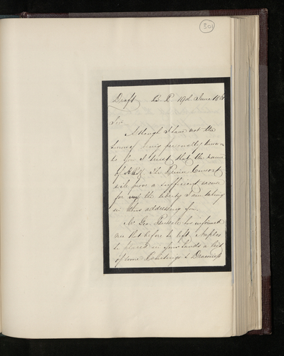 Draft letter from Charles Ruland to Augustus Craven enquiring about progress on the promised photographs of works by Raphael in Naples