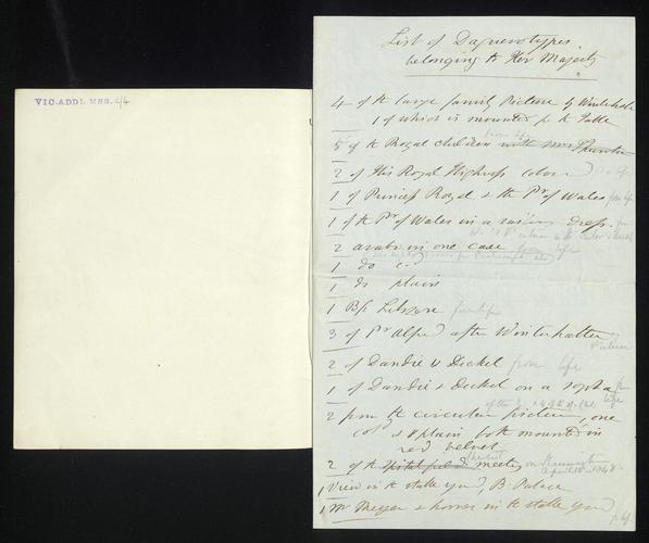 Notebook and document listing daguerreotypes belonging to Queen Victoria