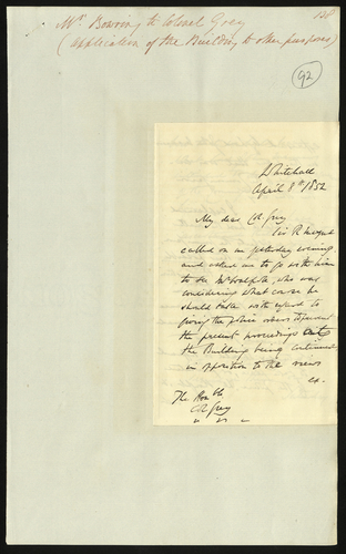 8 Apr 1852. Edgar Bowring to Colonel Grey