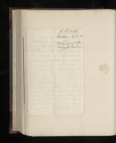 Copy of letter from Dr. Ernst Becker to Gerolamo Brioschi informing him that payment has been sent for his work, but that the Prince Consort has decided not togive him any further work because of his