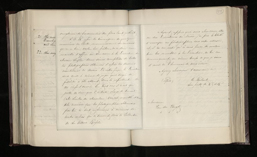 Copy letter from Charles Ruland to Mr J. van der Vlugt, a director of the Teyler Museum at Haarlem, regarding two series of photographs of Raphael drawings in the museum