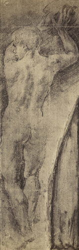 A study of a nude man hurling a rock