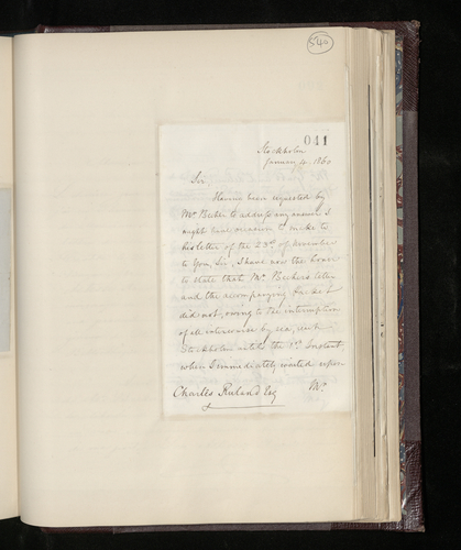 Letter from Hon. Edward Erskine, the British Charge d'Affaires in Stockholm, to Charles Ruland reporting that he has delivered the Prince Consort's gifts to the Director of the Royal Museum