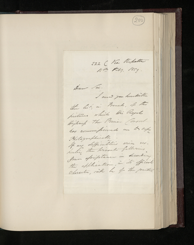 Letter from William Lake Price to Colonel Bruce sending the list of pictures which the Prince Consort has commissioned him to photograph in Rome and welcoming Bruce's assistance if any difficulties a