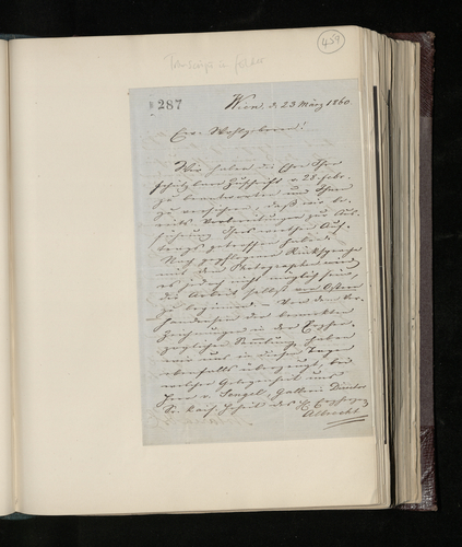 Letter from Artaria & Co in Vienna to Charles Ruland stating that they have made preparations for the photographing of drawings in the collection of Archduke Albrecht, but that it cannot be done befor