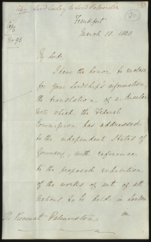 10 Mar 1850. Lord Cowley to Lord Palmerston