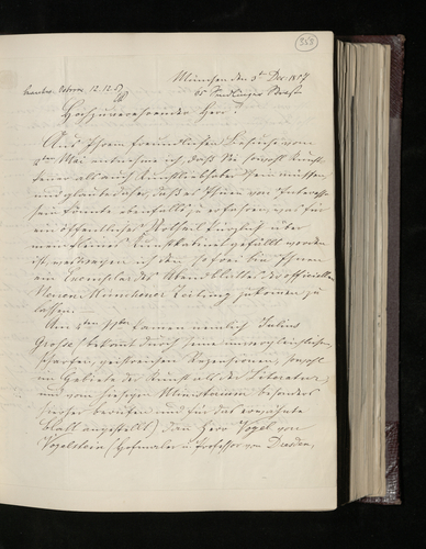 Letter from D. Lenoir, from Munich, to Dr. Ernst Becker sending a newspaper article about his art collection and asking whether he has received the photograph he commissioned from Herr Albert of the R
