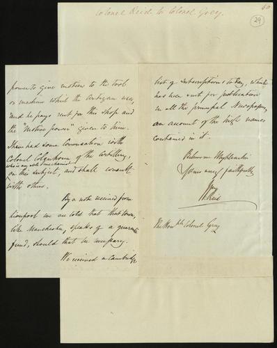 2 Mar 1850. Colonel Reid to Colonel Grey