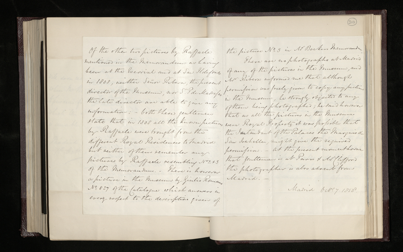 Memorandum by John Savile-Lumley concerning pictures by Raphael in the Royal Museum in Madrid of which the Prince Consort wishes to have photographs