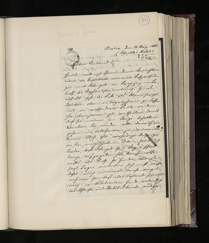 Letter from Dr. Ernst Becker to Charles Ruland reporting on his discussions with Rudolph Weigel in Leipzig about the list of engravings sought for the Prince Consort's Raphael collection, and on engr