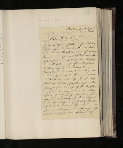 Letter from Dr. Ernst Becker to Charles Ruland sending prints, recommending print dealers in Berlin and sending information relevant to the Prince Consort's Raphael Collection gained from his researc