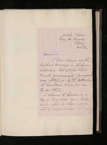 Letter from Charles Thurston Thompson to Dr. Ernst Becker reporting that he has photographed all the Raphael drawings at the Louvre