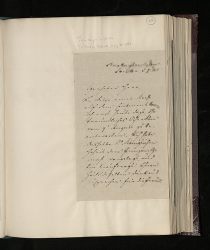 Copy letter from Charles Ruland to Herr Heubel thanking him for permission to have Raphael drawings in his possession photographed for the Prince Consort's collection and enquiring about an engraving