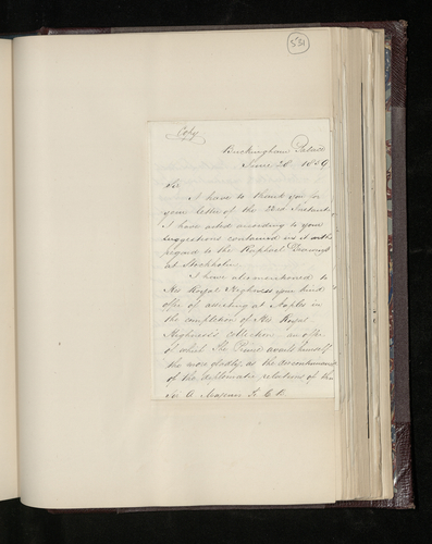Copy letter from Dr. Ernst Becker to Sir Arthur Magenis accepting his offer of help from Naples and sending a list of works by Raphael there of which the Prince Consort wishes to have photographs