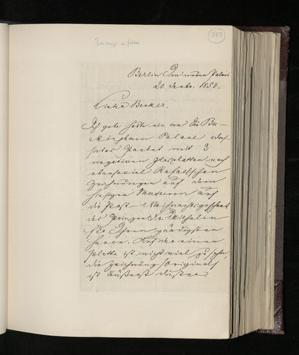 Letter from Ernst von Stockmar to Dr. Ernst Becker sending three glass-plate negatives of Raphael drawings in the Berlin Museum as a Christmas present from Prince Frederick William to the Prince Conso