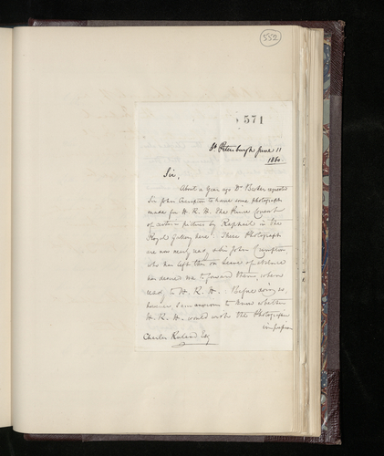 Letter from Hon. Edward Erskine to Charles Ruland announcing that he is sending the photographs and negatives of the two Raphael pictures requested for the Prince Consort and enclosing the photographe