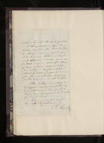 Letter from Charles Payen of Caen to Dr. Waagen regarding the sale price of a copy of Perugino's 'Marriage of the Virgin' by the French painter Lavieille