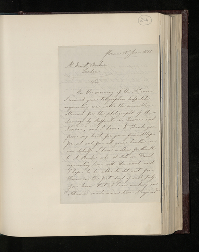 Letter from Leopoldo Alinari to Dr. Ernst Becker acknowledging receipt of his telegram conveying permission to photograph the Raphael drawings in Venice and Vienna