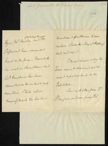 15 Jun 1850. Lord Granville to Colonel Grey