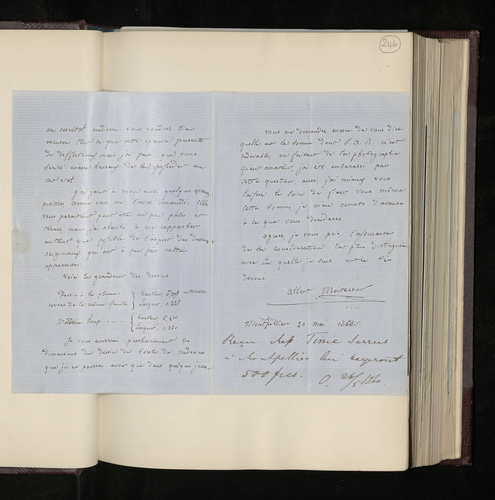 Letter from Albert Moitessier to Charles Ruland reporting that he has sent the negatives and prints of the Raphael drawings he has photographed in Montpellier