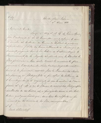 Copy letter from Charles Ruland to Count Schuwaloff sending an album of photographs of the Raphael drawings in the Royal Library at Windsor