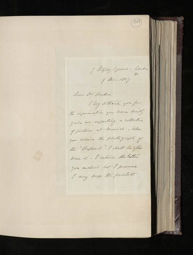 Letter from Sir Charles Eastlake to Dr. Ernst Becker thanking him for sending Lenoir's letter about his art collection in Munich and expressing interest in the 'Raphael' in the collection