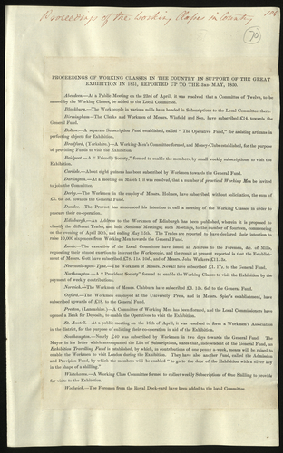 3 May 1850. Proceedings of the Working Classes