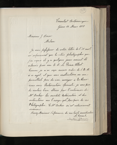 Letter from the British Consul at Genoa to Mr J. Bairr in Milan regarding the photographic plates the latter has sent him for dispatch to Prince Albert