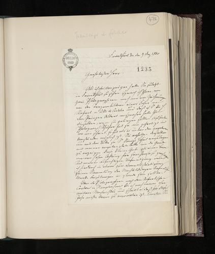 Letter from J. D. Passavant to Charles Ruland sending photographs of his own drawings of a work by Raphael in Citta di Castello
