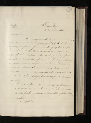 Copy letter from Charles Ruland to Albert Moitessier asking him to photograph Raphael drawings in the Musee Fabre at Montpellier