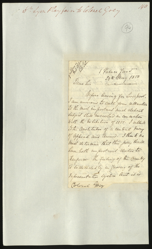 28 May 1850. Dr. Lyon Playfair to Colonel Grey