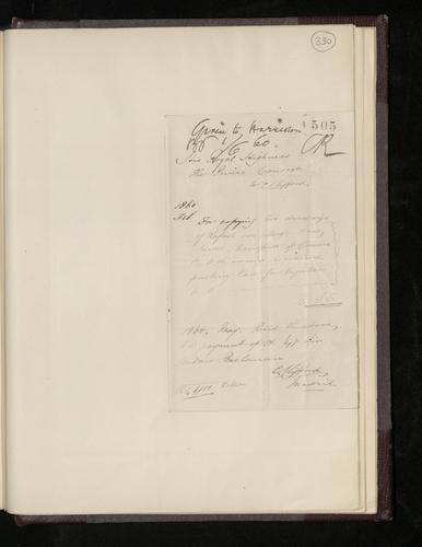 Charles Clifford's receipt of payement from Albert, Prince Consort, for photographing two Raphael drawings