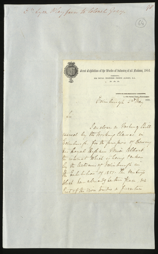 2 May 1850. Dr. Lyon Playfair to Colonel Grey