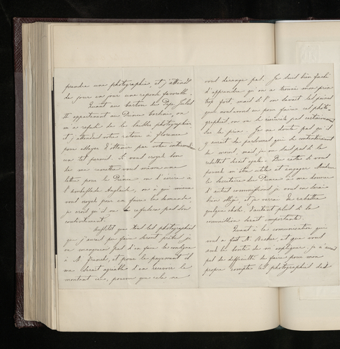 Letter from Leopoldo Alinari to Joseph Kanne explaining the delays and difficulties of his work photographing the works of Raphael in Florence, justifying his charges and asking Kanne to write to the