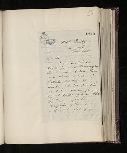 Letter from Robert Bingham to Charles Ruland offering to photograph the Raphael drawings in Haarlem and mentioning collections in Paris and Lille