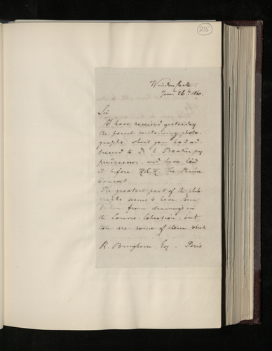 Copy letter from Charles Ruland to Robert Bingham, photographer in Paris, acknowledging receipt of his photographs of Raphael drawings and requesting further information