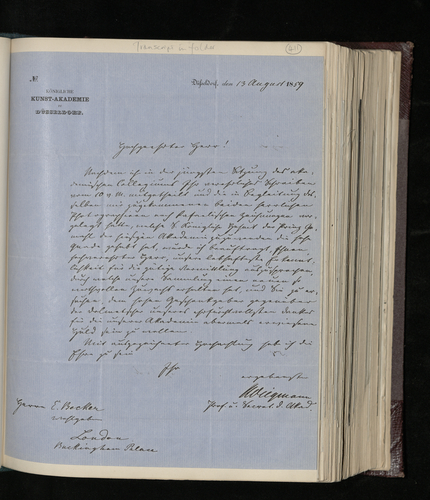 Letter from the Secretary of the Royal Academy of Arts in Dusseldorf to Dr. Ernst Becker thanking for two photographs of Raphael drawings sent to the Academy on the Prince Consort's instructions